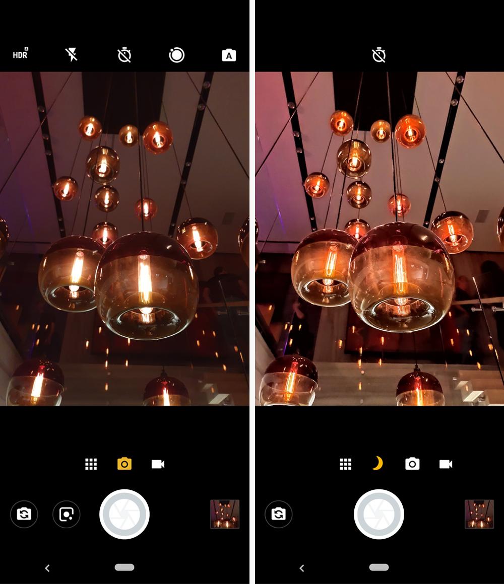 À esquerda, uma foto comum, à direita um imagem captura com o Night Vision acionado