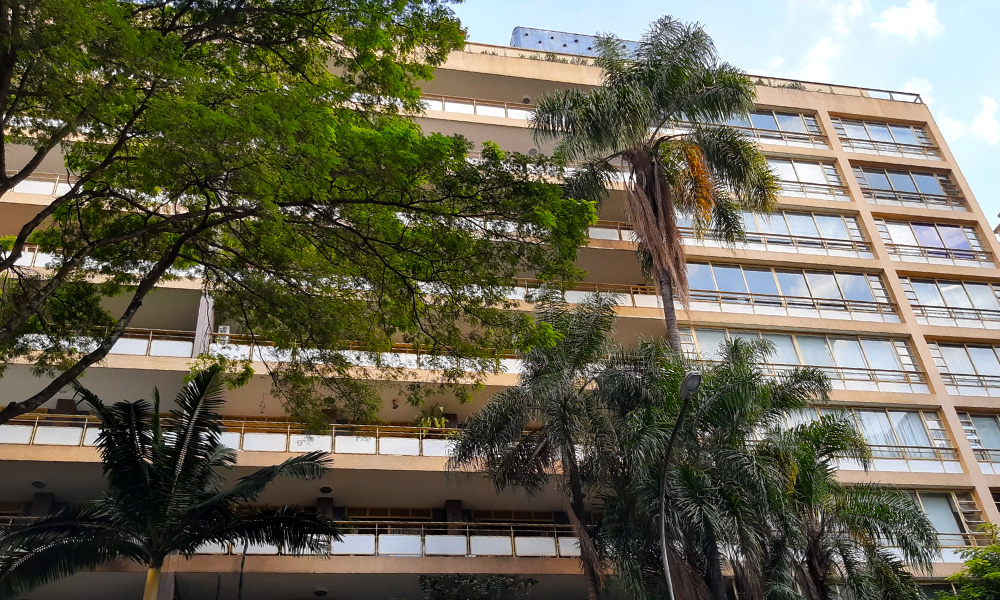 Fachada do Edifício Prudência, na Avenida Higienópolis
