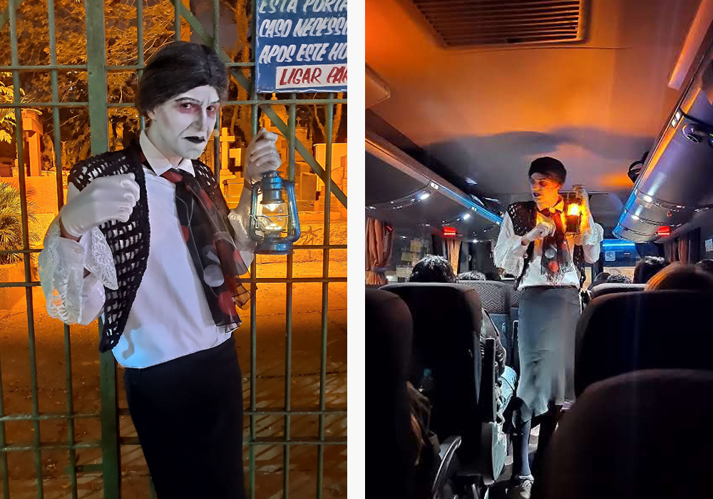 Ethernya, interpretada pelo ator e guia turístico David Carolla. Fotos tiradas com o modo Night Vision